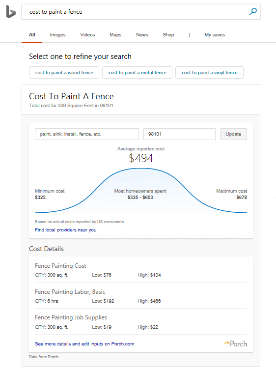 Bing service cost guide