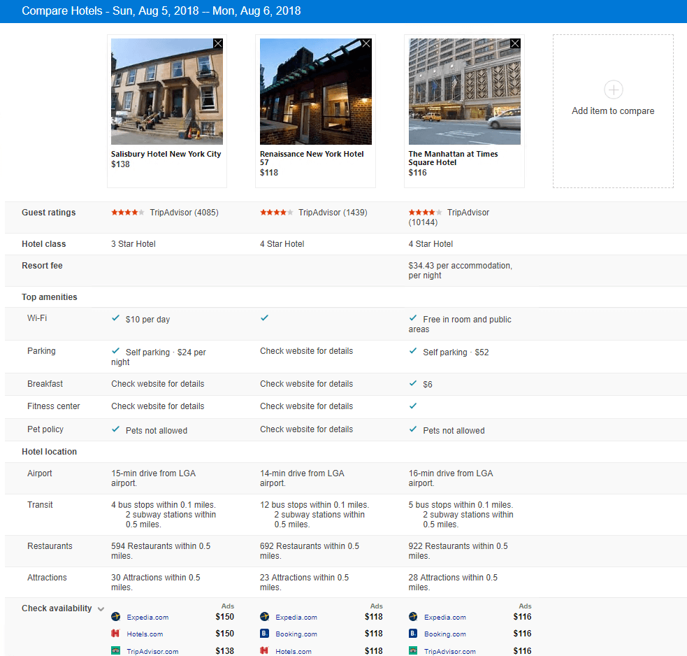 Bing hotel price comparison