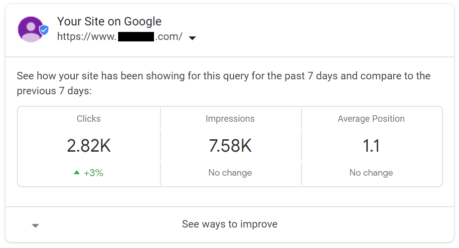 Google Search Console Data in SERPs