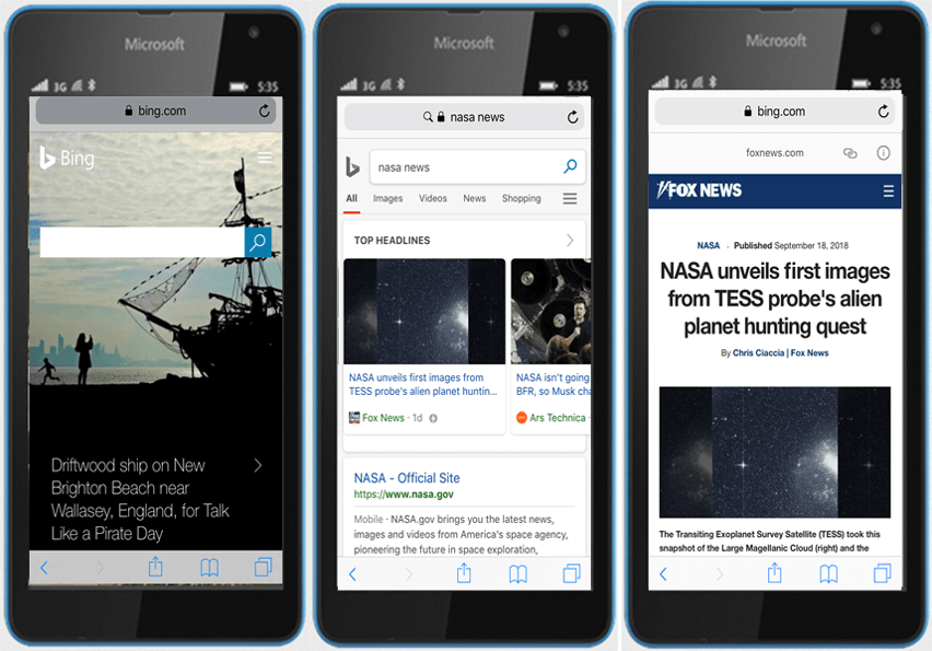 Bing AMP NASA Example