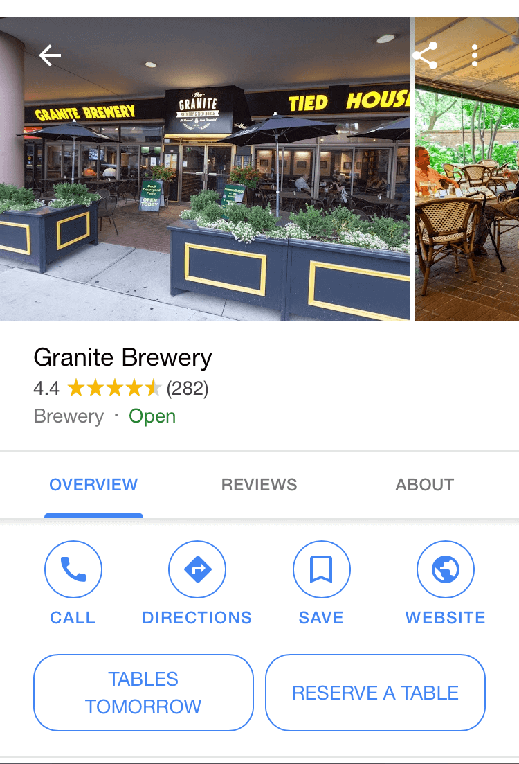 Google adds reserve a table button to local listings
