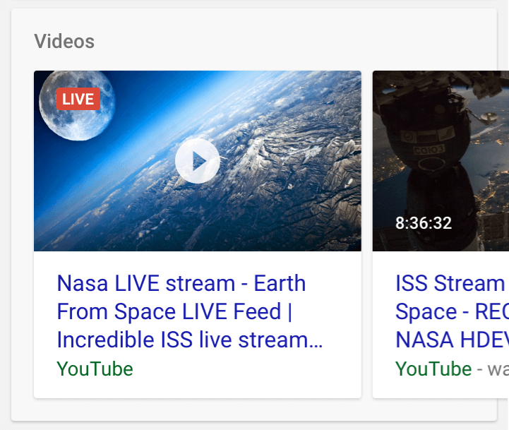 Google live stream schema example
