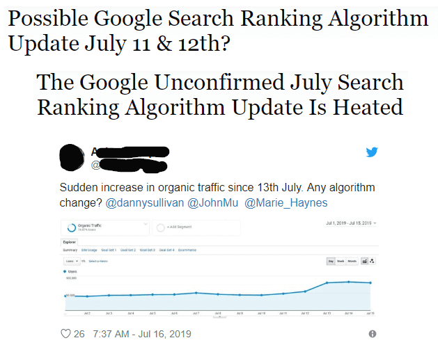 Unconfirmed Algorithm Updates