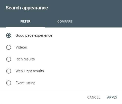 Google Search Console Good Page Experience Filter