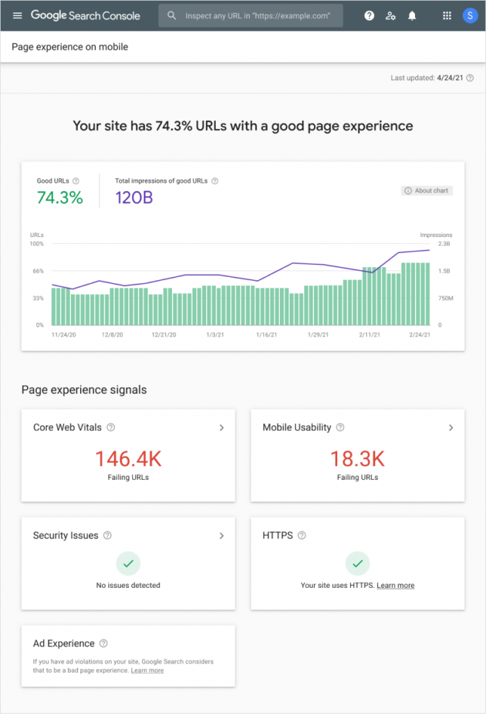 Google Search Console Page Experience Report