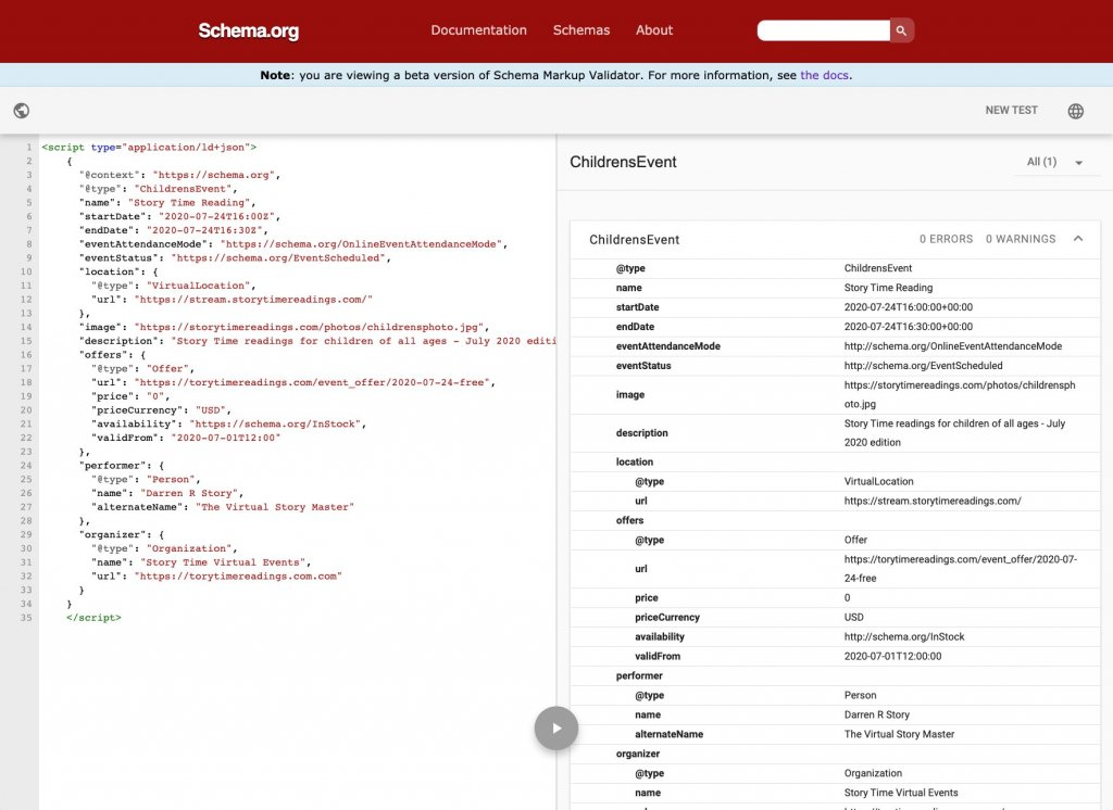 Schema Markup Validator Tool