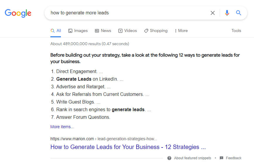 featured snippet - how to generate more leads