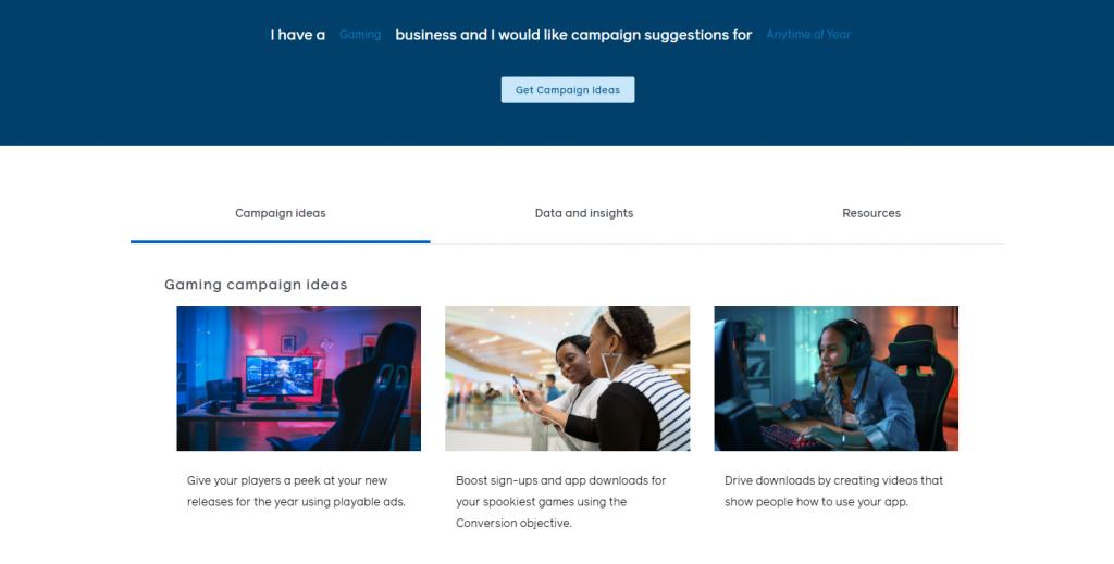 Screenshot of Facebook's Campaign Idea Generator site.