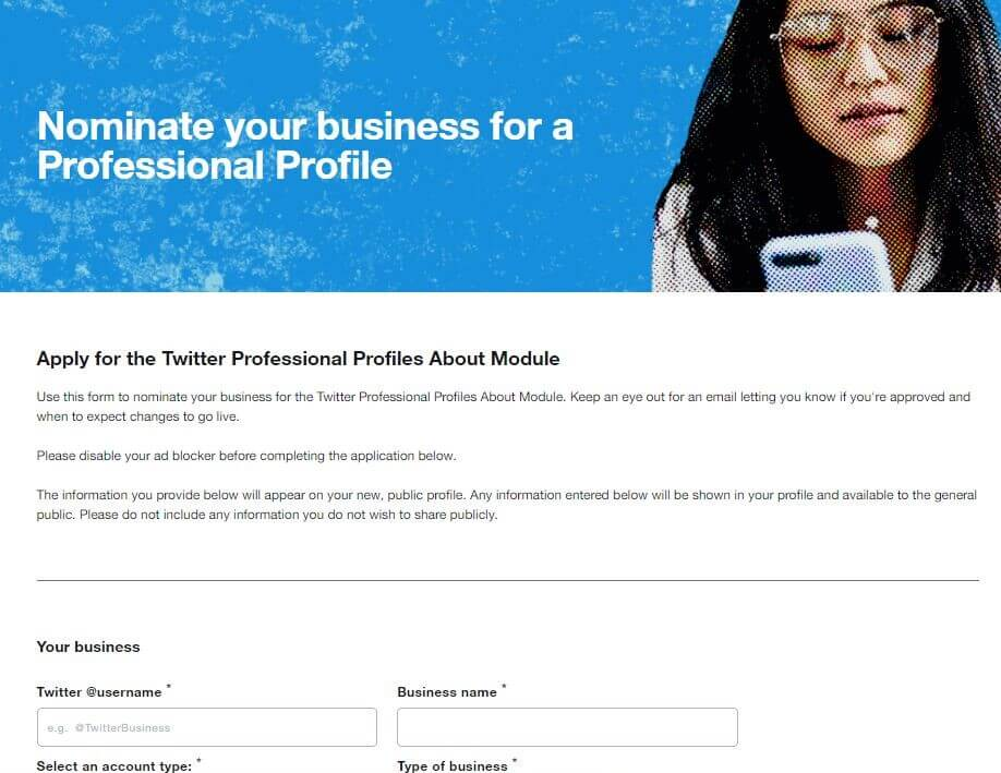 Screenshot of Twitter's Business Profile application form.